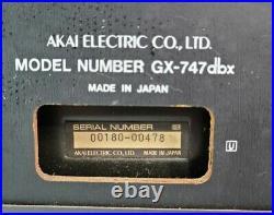 Akai GX-747 DBX Reel To Reel Tape Recorder Powers On, Clean, (Read Description)