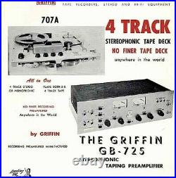 GRIFFIN Stereo PRE-AMP & 4 TRACK REELREEL TAPE RECORDER/PLAYER 725 &707 Denon