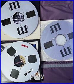LOT of 7 MIXED BRAND METAL REELS + RECORDING TAPE 1/4 10.5 10 1/2 IN BOXES