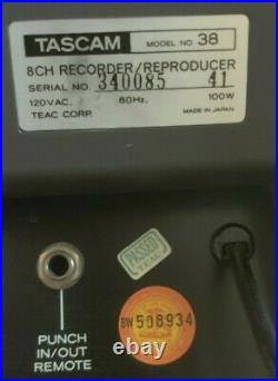 TASCAM 38 Reel to Reel 8-Track Tape Recorder/Reproducer Fully functional