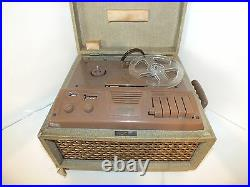 Vintage AMPRO tube reel to reel recorder model 757 with SHURE mic must see