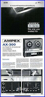 Vintage Ampex Ax-300 Reel To Reel Tape Recorder